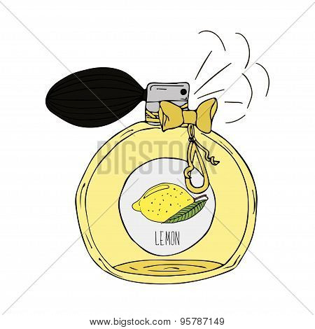 Hand Drawn  illustration of a perfume bottle with the scent of lemon