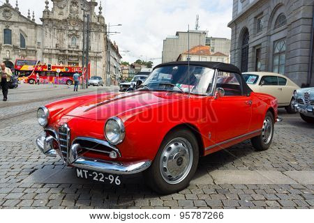 PORTO, PORTUGAL - JUNE, 14: Italian retro cars on exhibition in the old town on June 14, 2015 in Porto, Portugal