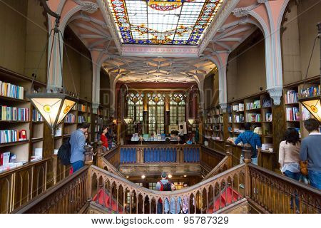 PORTO, PORTUGAL - JUNE, 12: People visit famous bookstore Livraria Lello on June 12, 2015 in Porto, Portugal