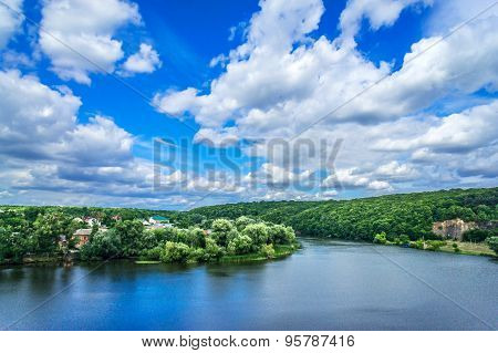 Amazing Blue Lake  And Sky With Clouds.