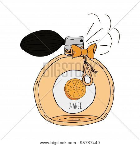 Hand Drawn  illustration of a perfume bottle with the scent of orange
