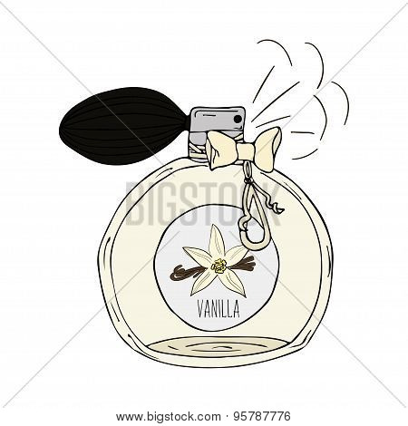 Hand Drawn  illustration of a perfume bottle with the scent of vanilla
