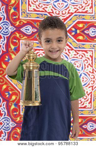 Adorable Young Boy With Ramadan Lantern