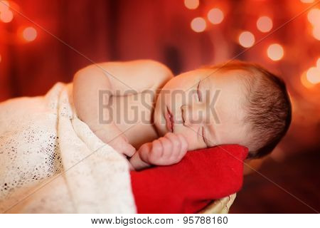 Christmas sleeping newborn baby