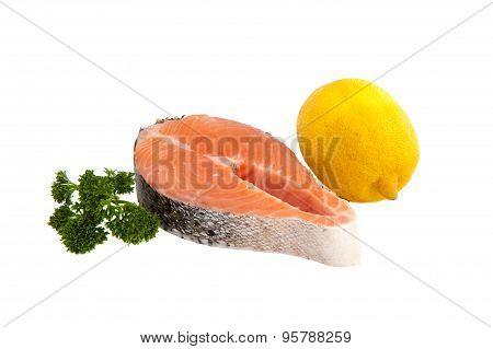 Raw Salmon Steak, Lemon And Parsley