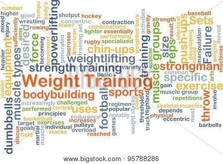 Background concept wordcloud illustration of weight training