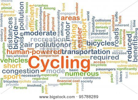 Background concept wordcloud illustration of cycling