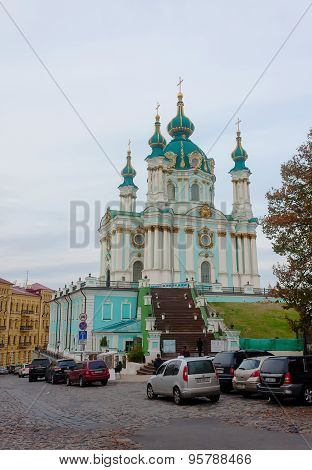 Kiev, Ukraine - October 23, 2014: View Of The Church Of St. Andrew And St. Andrew's Descent Street