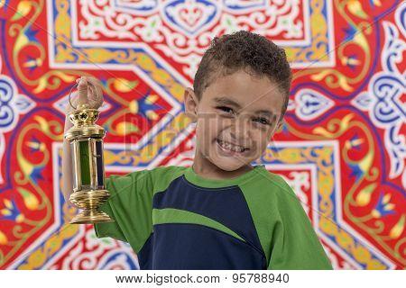 Adorable Smiling Boy With Ramadan Lantern