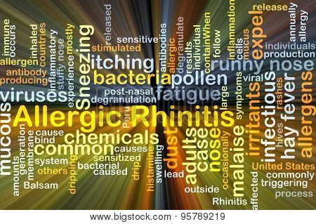 Background concept wordcloud illustration of allergic rhinitis glowing light