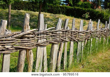 Village Wooden Fence In Perspective