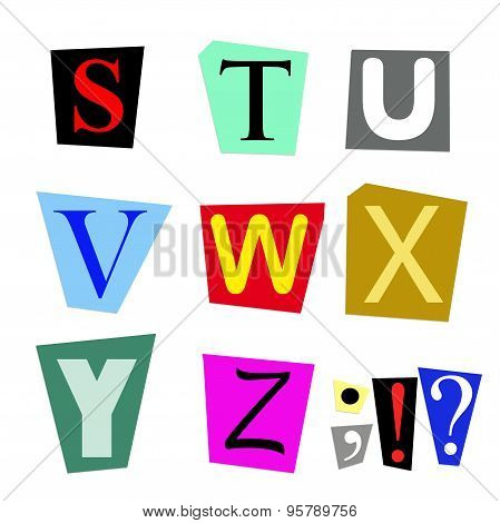 cut out letters S to Z