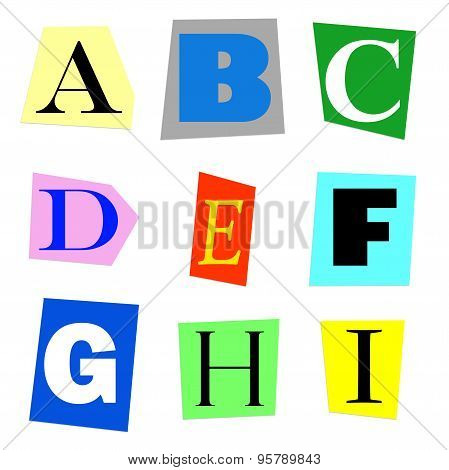 cut out letters A to I