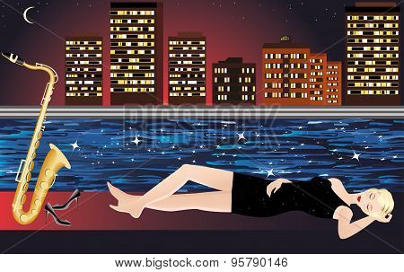 Girl with saxophone, night city and river.