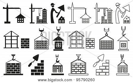 Icons Construction Of Houses On White