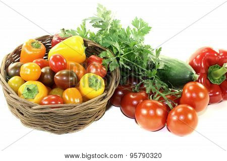 Vegetable Basket With Mixed Colorful Vegetables