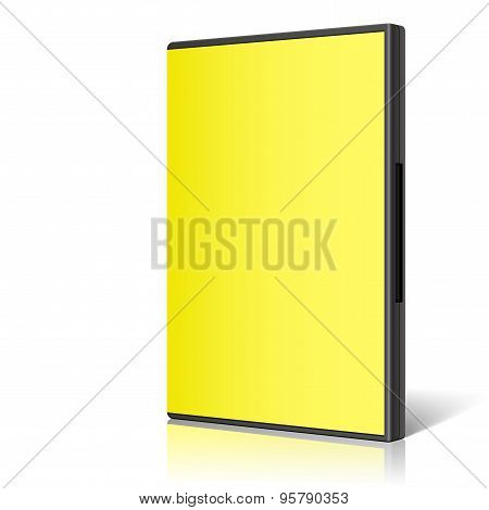 Yellow Case For Dvd Or Cd Disk. Vector