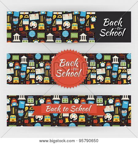 Back To School Knowledge And Education Vector Template Banners Set In Modern Flat Style