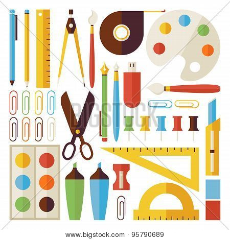 Flat Back To School Objects And Office Instruments Set Isolated Over White