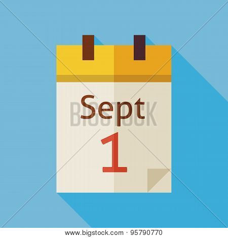 Flat Back To School September Calendar Illustration With Long Shadow