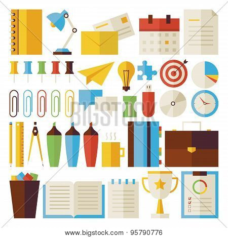 Flat Business And Office Life Objects Set Isolated Over White