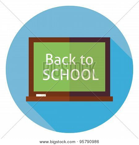 Flat Education Back To School Chalkboard Circle Icon With Long Shadow