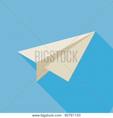 Flat Freelance Paper Plane Illustration With Long Shadow