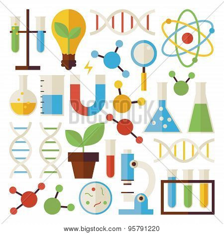 Flat Science And Research Objects Set Isolated Over White