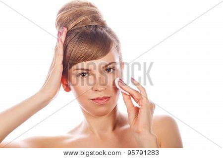 Girl With Nude Makeup Holds A Cotton Pad.