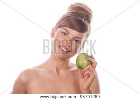 Girl With Nude Makeup Smiling And Holding Green Apple.