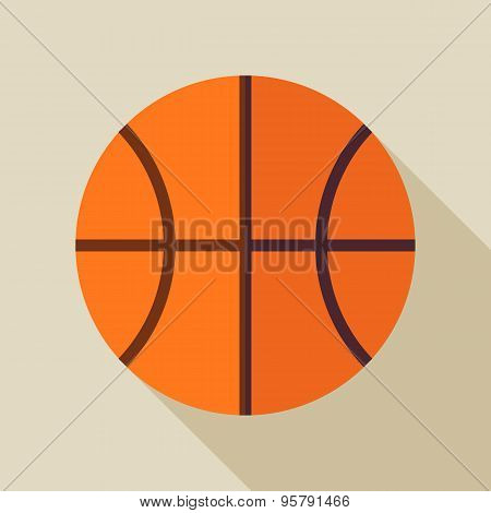 Flat Sports Ball Basketball Illustration With Long Shadow