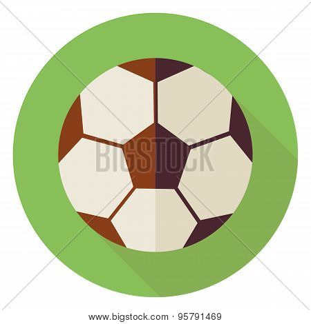 Flat Sports Ball Soccer Football Circle Icon With Long Shadow