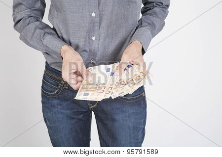 Woman Hands With Euros