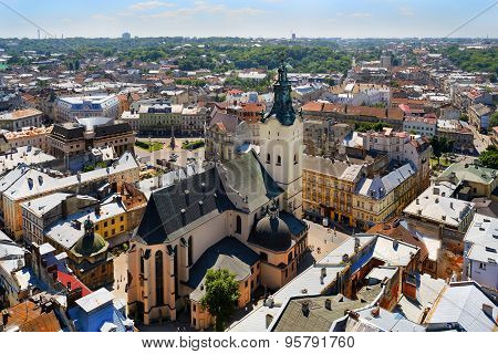 Air View On The Cathedral And The Lviv City
