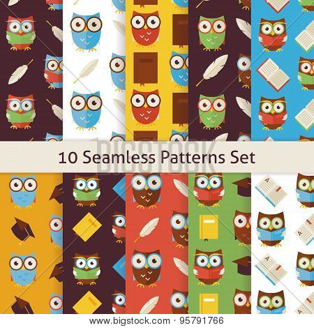 School And Education Owls Flat Seamless Background Patterns Set