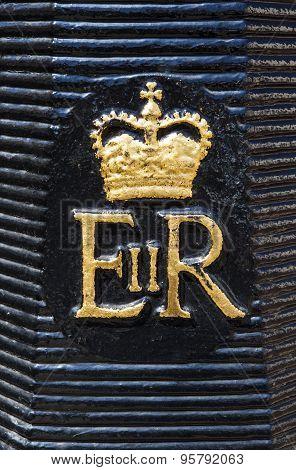 Royal Crest On A London Bollard