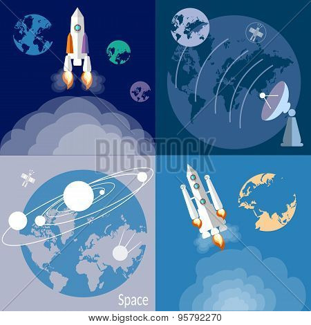Space And Astronautics, Rockets, Spaceships, Planets, Orbit, Galaxy, Universe, Flat Vector