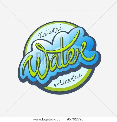 Water Calligraphic Label