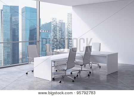 Modern Office Interior With Huge Windows And Singapore Panoramic View. White Leather On The Chairs A