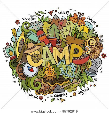 Summer camp hand lettering and doodles elements background