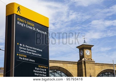 Kings Cross Pedestrian Sign And Kings Cross Station