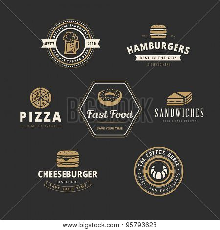 Fastfood Retro Vintage Labels as Logo design vector template set. Fast Food: Hamburger, Cheeseburger, Pizza, Donut, Sandwich, Croissant, Beer Logotype icons.
