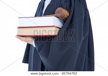 lawyer holding scales of justice on white background