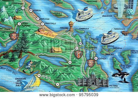 Vancouver island map mural