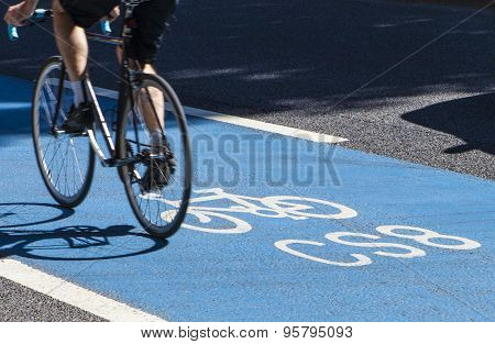 Cyclist On A Cycle Superhighway In London