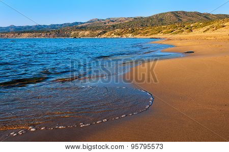 The Sandy Beach On The Mediterranean Sea. Cyprus