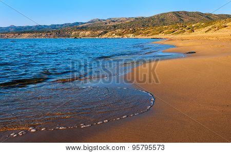 The Sandy Beach On The Mediterranean Sea. Cyprus