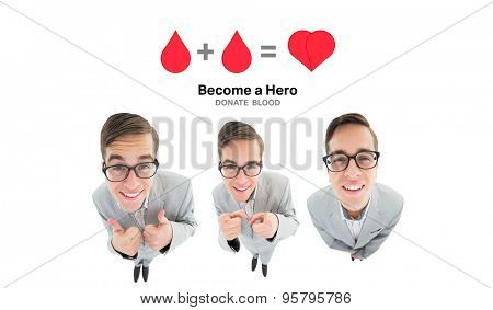 nerdy businessman showing thumbs up against blood donation