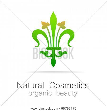 Natural Cosmetics - Organic beauty. Template Logo for cosmetics, spa, beauty salon.