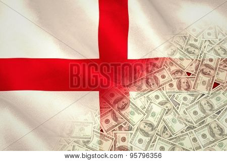 Pile of dollars against digitally generated english national flag